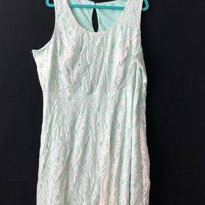 Lace whitish-cream and mint green dress